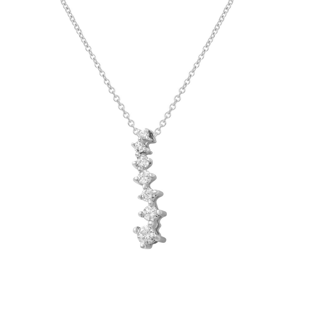 Natural 0.25 CTW Diamond Necklace 14K White Gold - REF-24R6K