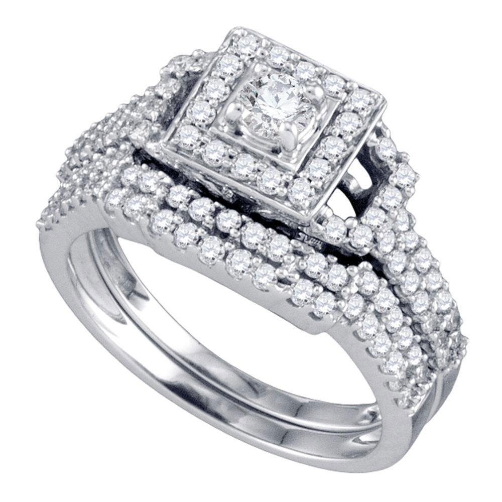 1 CTW Diamond Square Halo Bridal Engagement Ring 14KT White Gold - REF-112X5Y