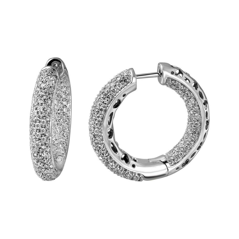 Natural 2.12 CTW Diamond Earrings 14K White Gold - REF-153N2Y