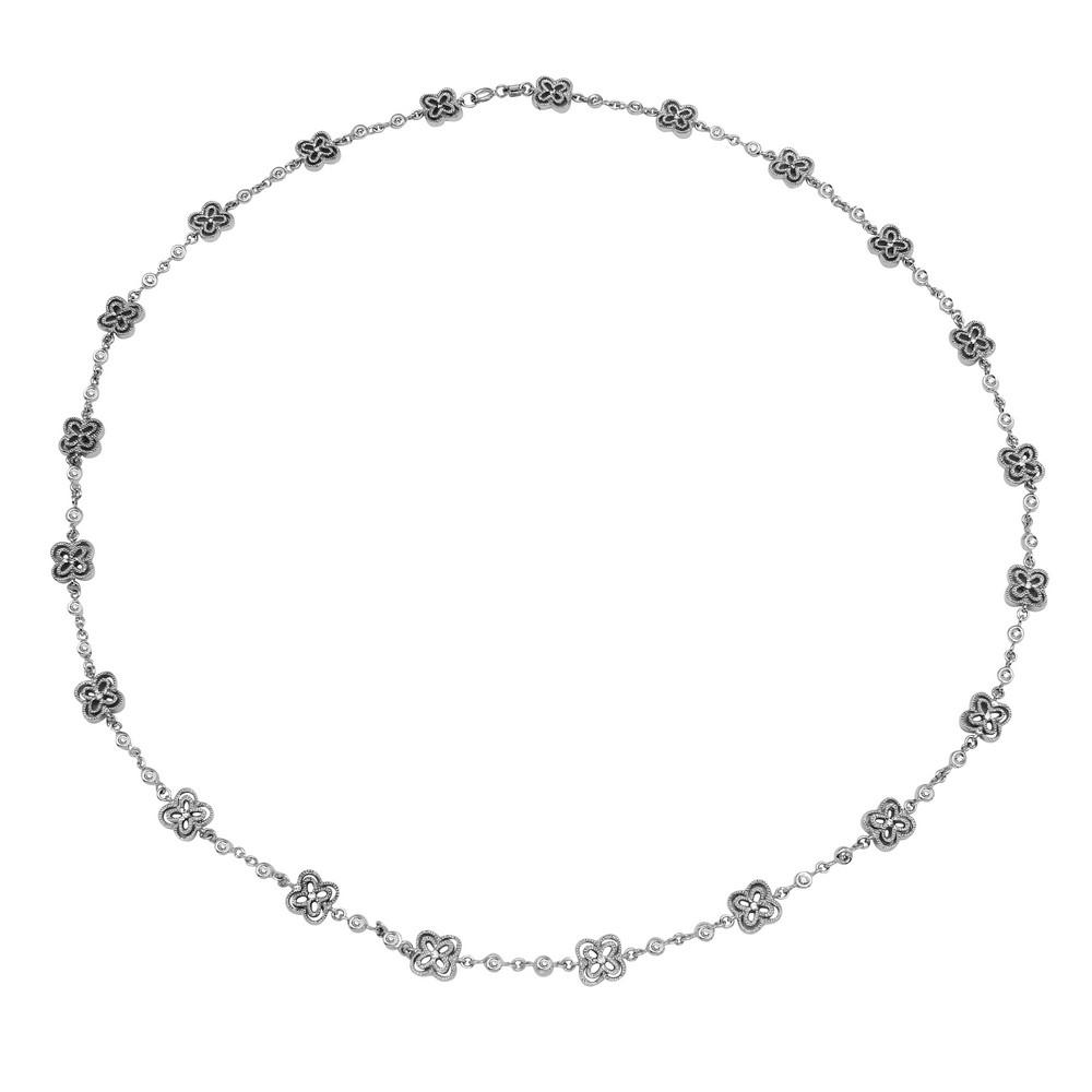 Natural 0.97 CTW Diamond Necklace 18K White Gold - REF-178R8K