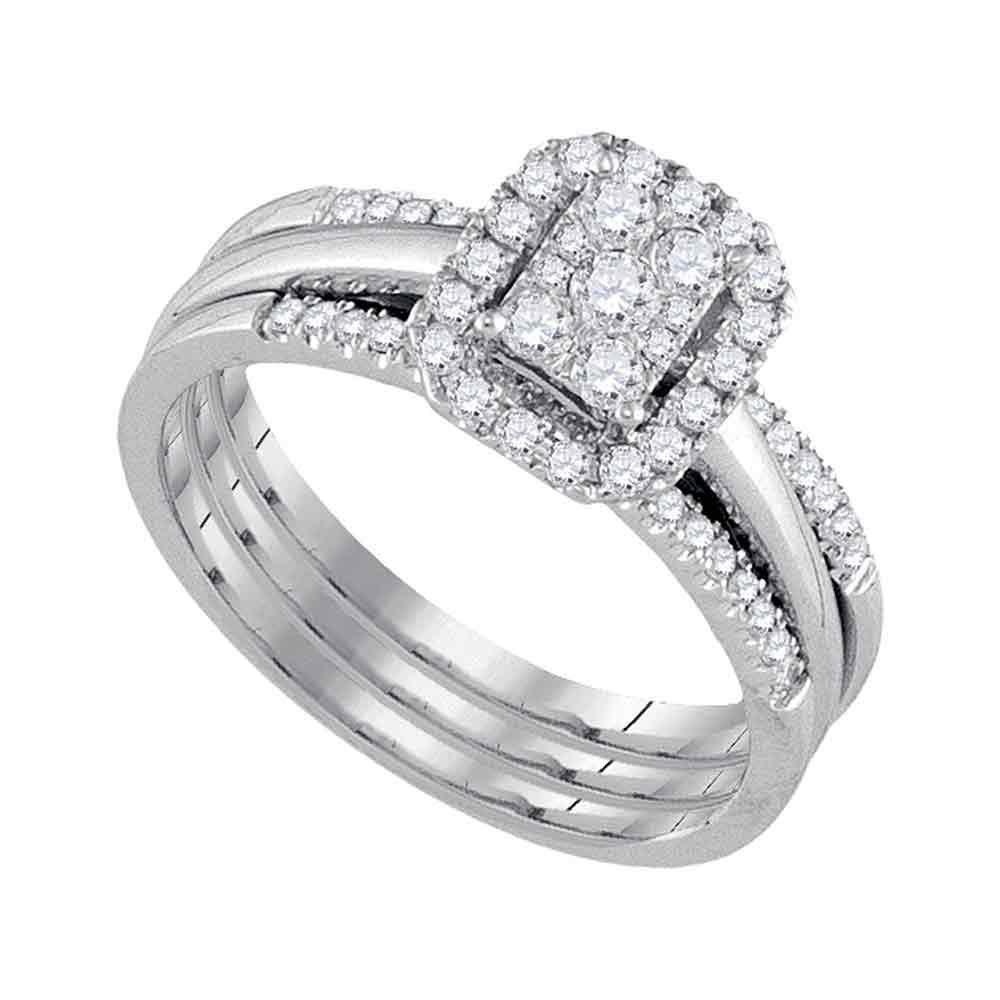 0.50 CTW Diamond Cluster Bridal Engagement Ring 10KT White Gold - REF-59W9K