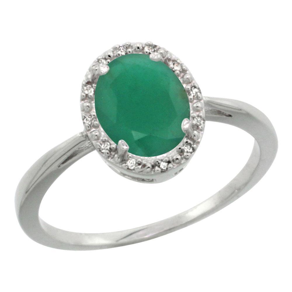 Natural 1.52 ctw Emerald & Diamond Engagement Ring 14K White Gold - REF-36G5M