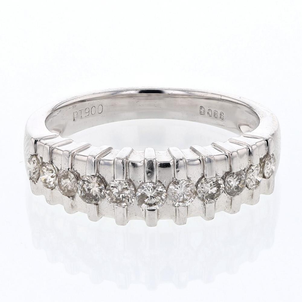 Natural 0.59 CTW Diamond Band Ring Platinum - REF-103F4N