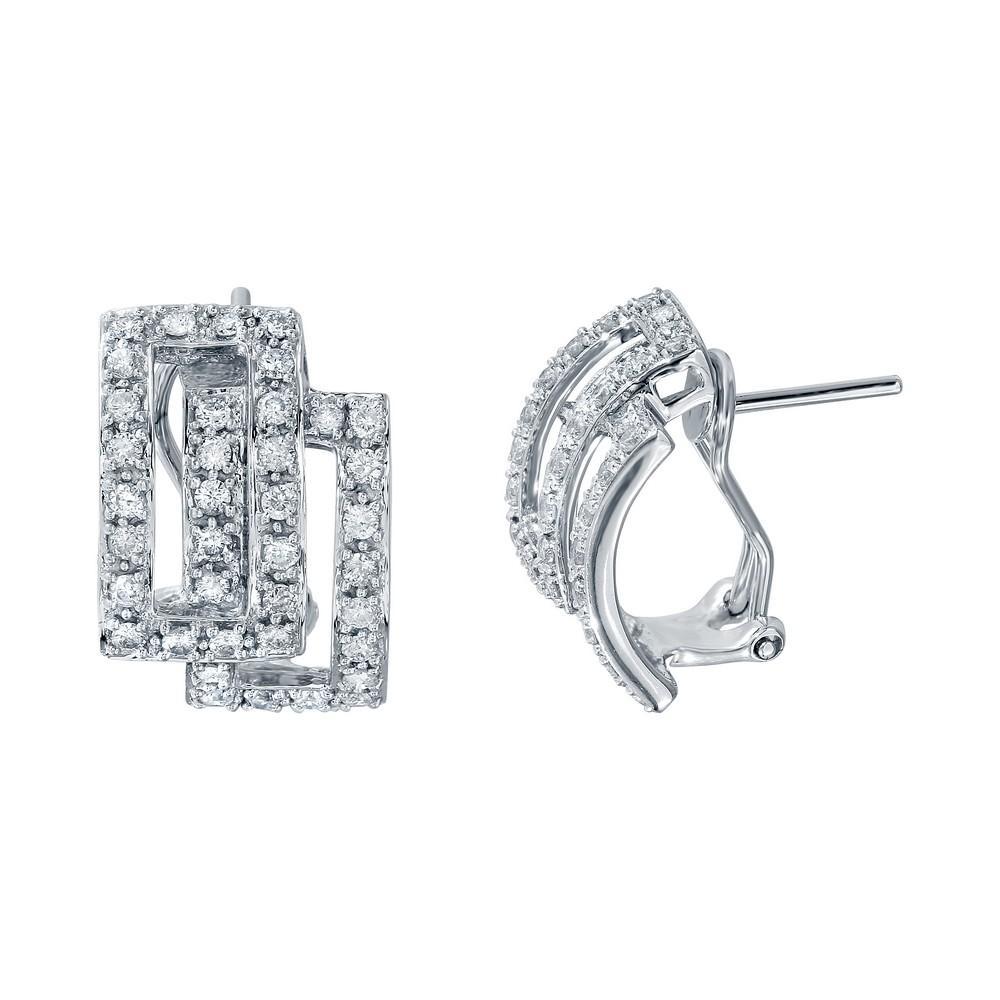 Natural 0.92 CTW Diamond Earrings 14K White Gold - REF-69M3F