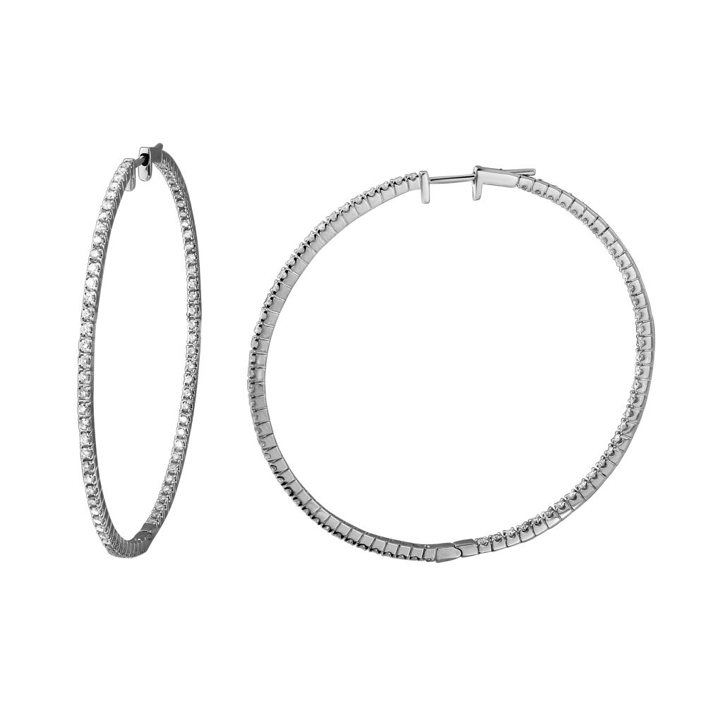 Natural 1.51 CTW Diamond Earrings 18K White Gold - REF-188M6F