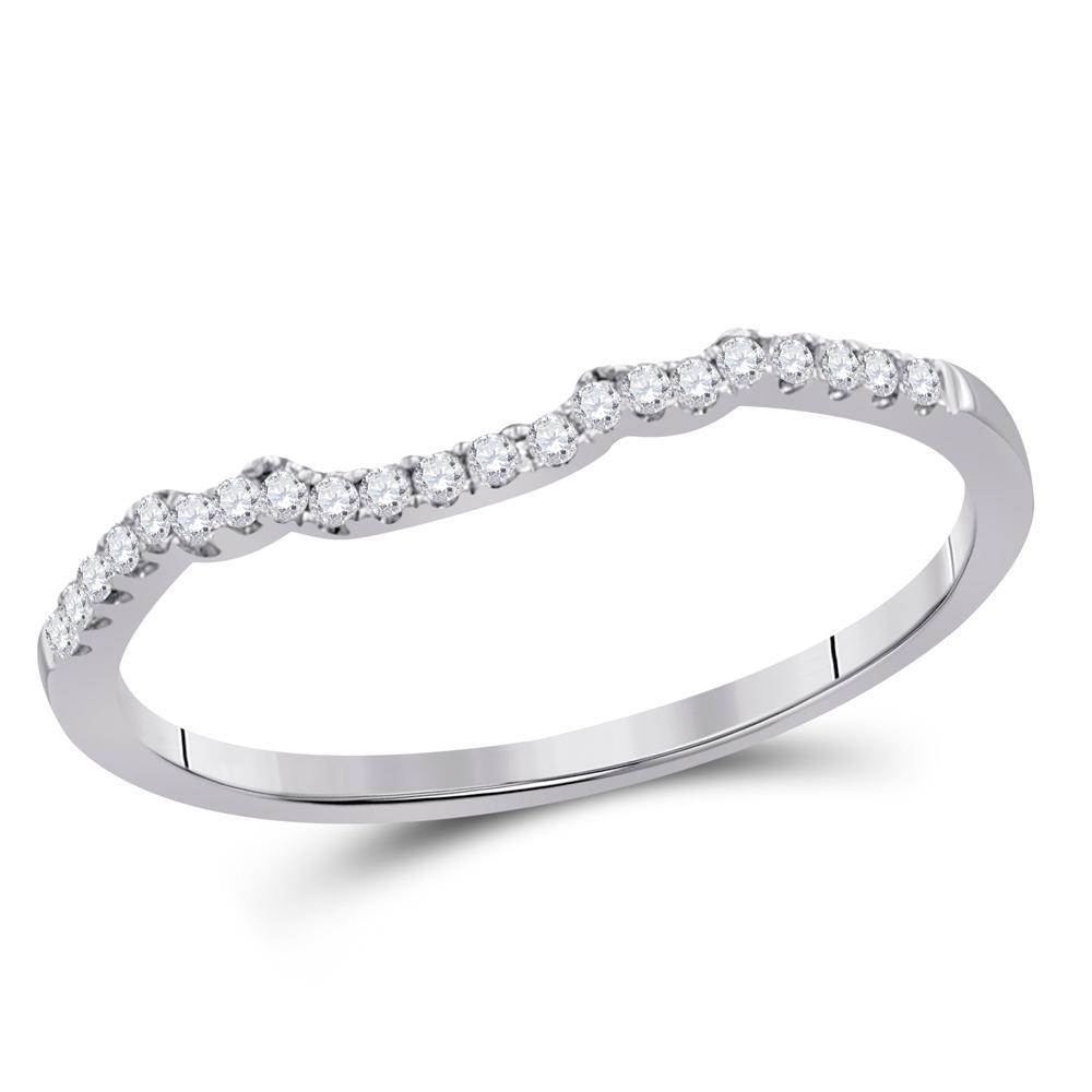 0.10 CTW Diamond Slender Wedding Enhancer Ring 14KT White Gold - REF-18W2K