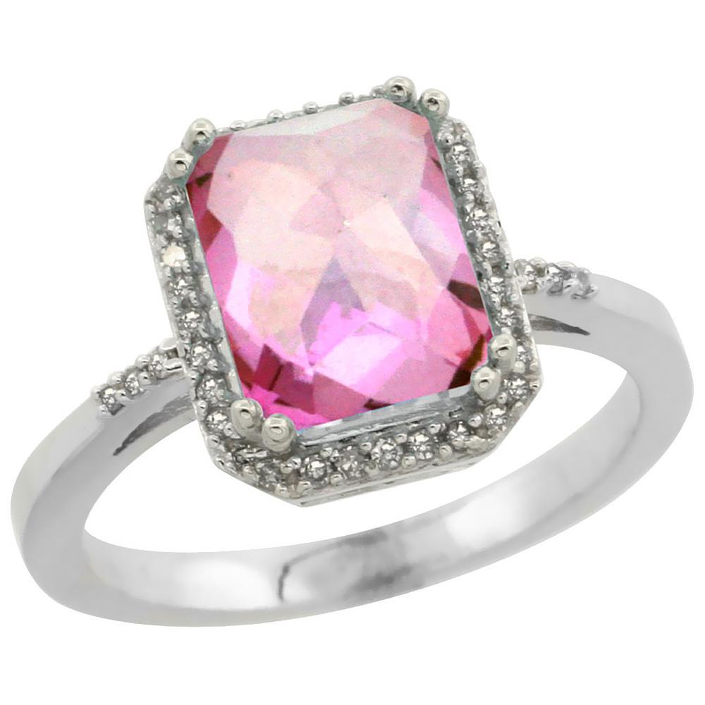 Natural 2.63 ctw Pink-topaz & Diamond Engagement Ring 10K White Gold - REF-32V7F
