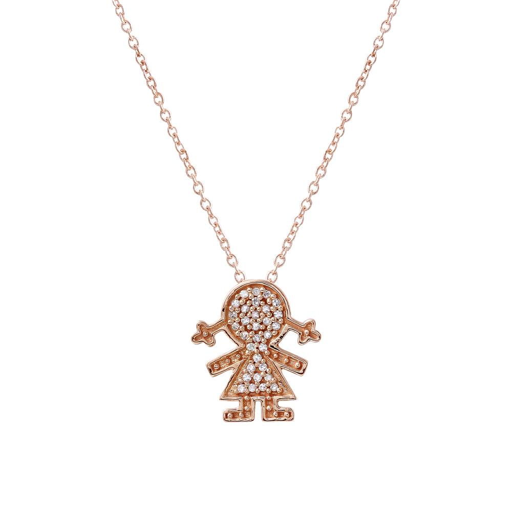 Natural 0.11 CTW Diamond Necklace 14K Rose Gold - REF-18W6H