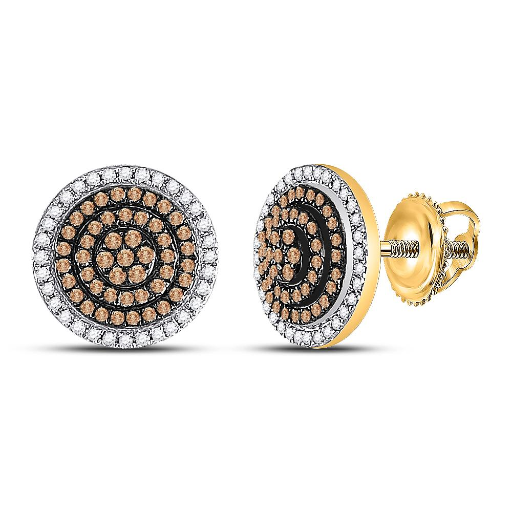 0.55 CTW Cognac-brown Color Diamond Cluster Earrings 10KT Yellow Gold - REF-30H2M