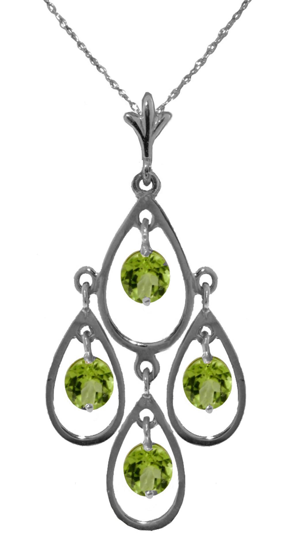 Genuine 1.20 ctw Peridot Necklace Jewelry 14KT White Gold - REF-30K7V