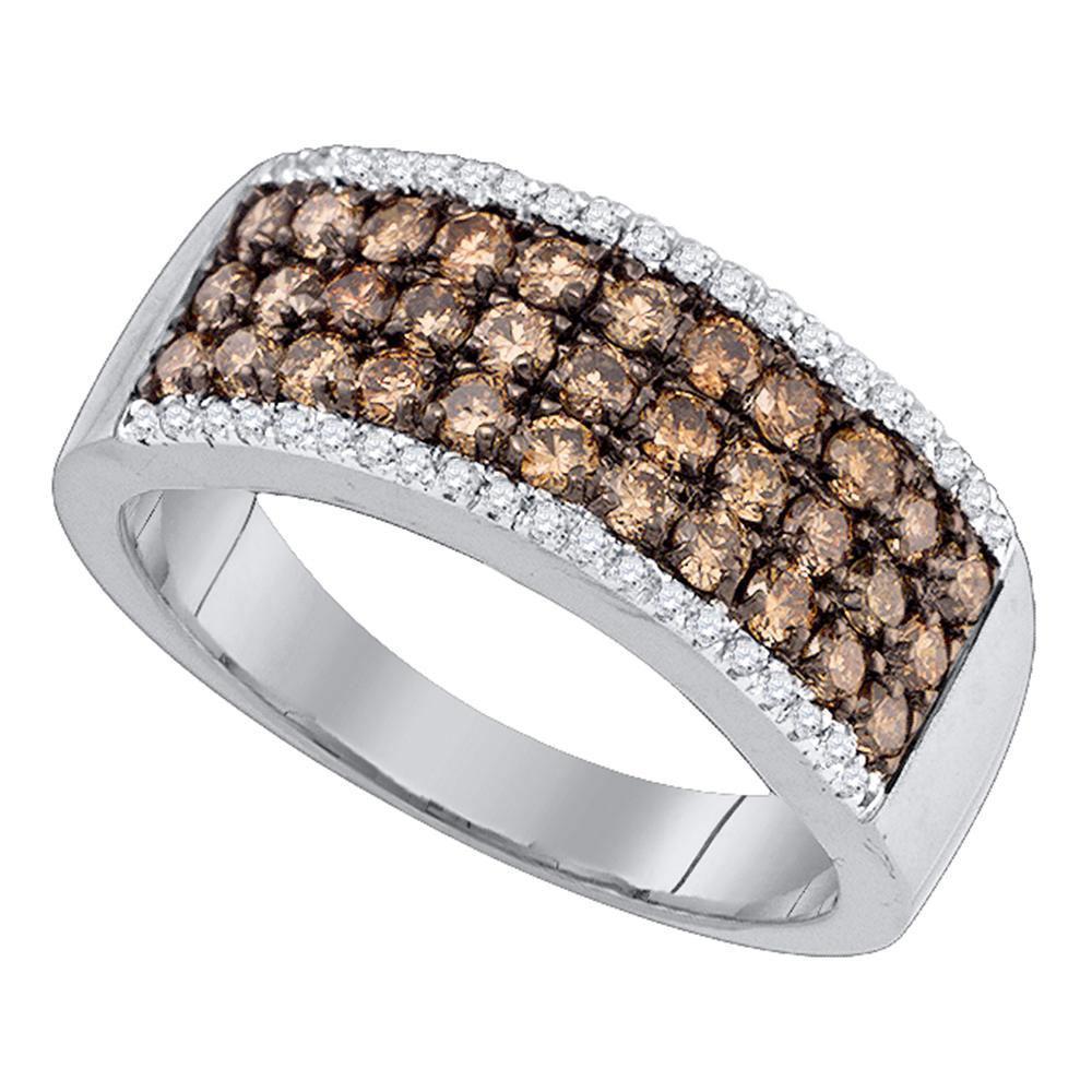 1.02 CTW Cognac-brown Color Diamond Ring 14KT White Gold - REF-67W4K