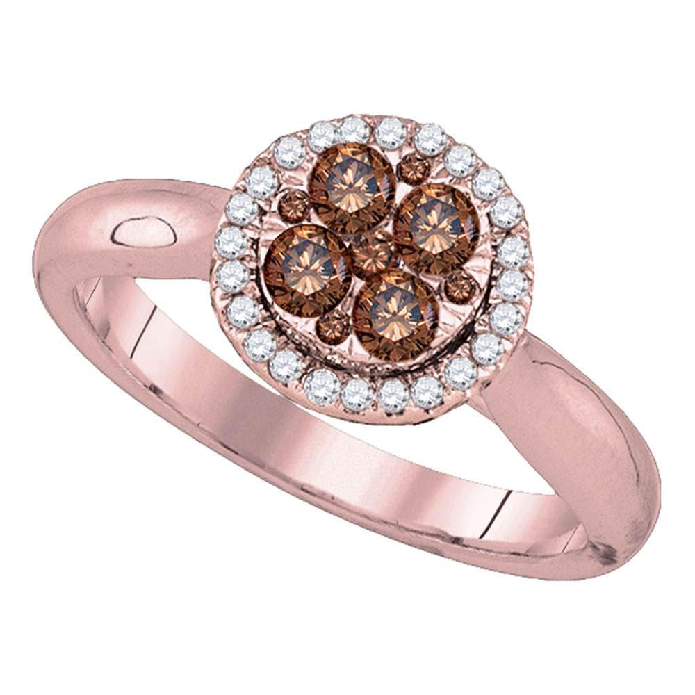 0.46 CTW Brown Diamond Cluster Halo Bridal Engagement Ring 14KT Rose Gold - REF-59K9W