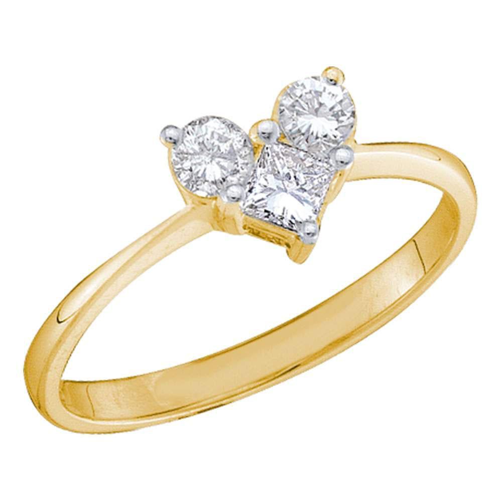 0.52 CTW Princess Diamond Heart Bridal Engagement Ring 14KT Yellow Gold - REF-49K5W