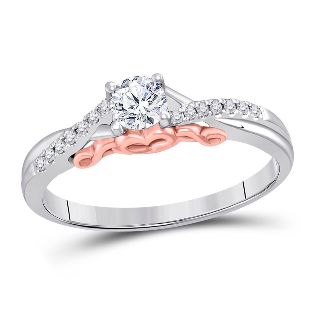 0.33 CTW Diamond Bridal Wedding Engagement Ring 14KT Two-tone Gold - REF-67H4M