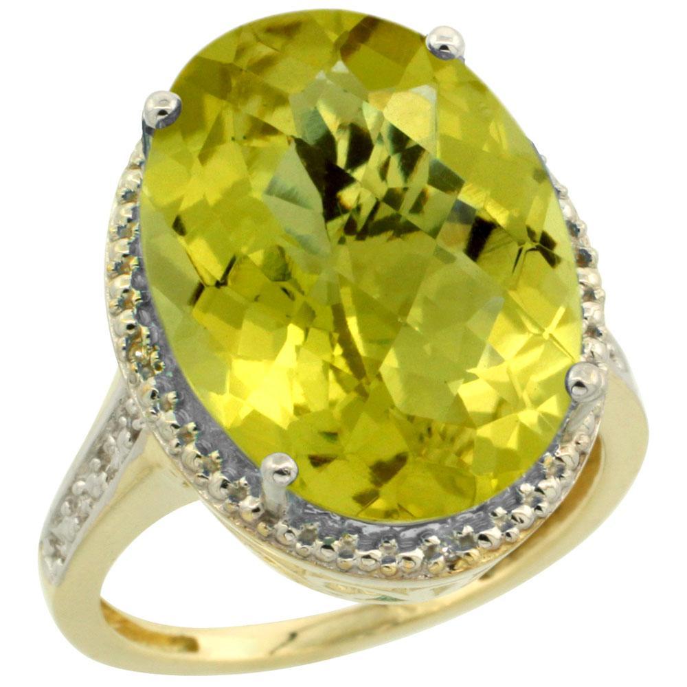 Natural 13.6 ctw Lemon-quartz & Diamond Engagement Ring 10K Yellow Gold - REF-52A3V