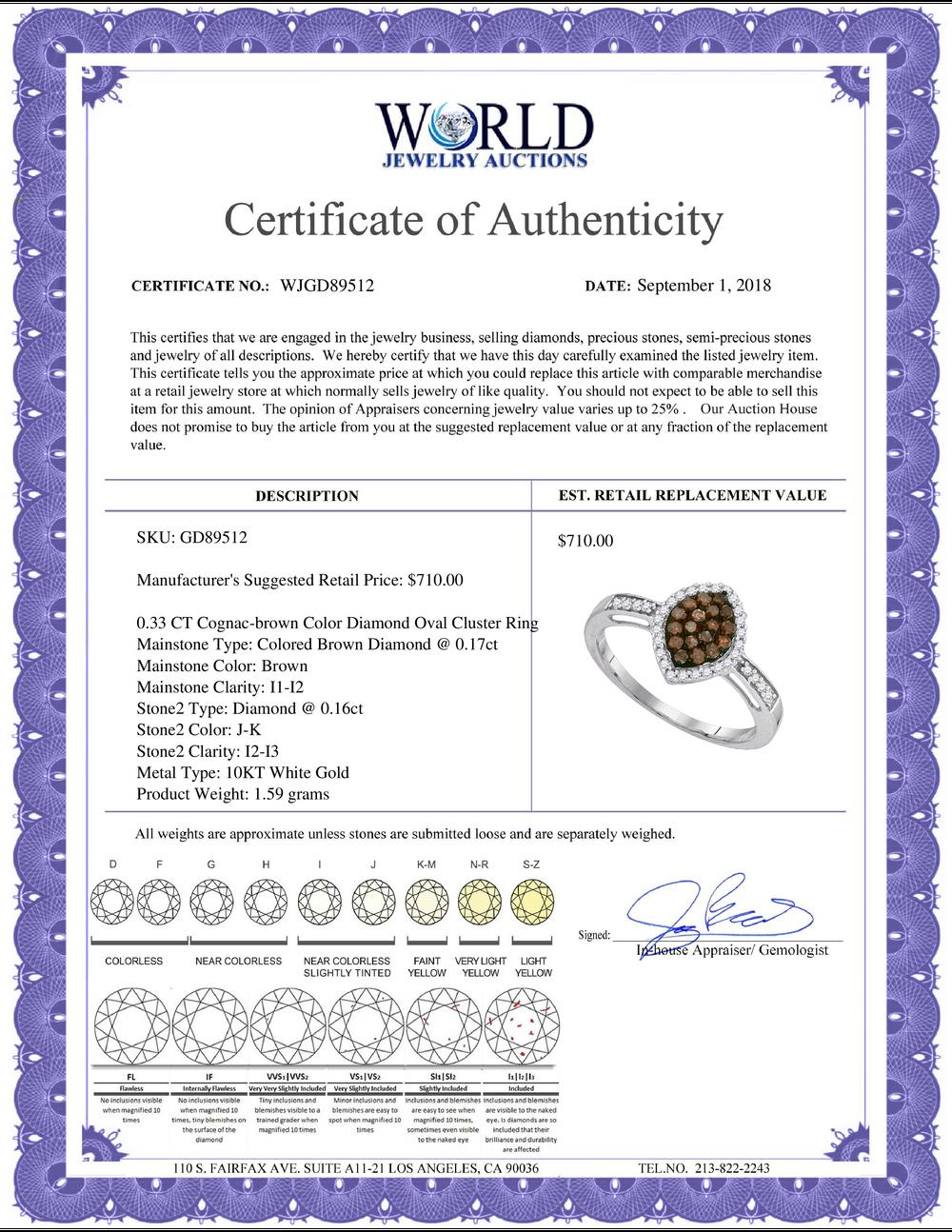 0.33 CTW Cognac-brown Color Diamond Oval Cluster Ring 10KT White Gold - REF-18W2K