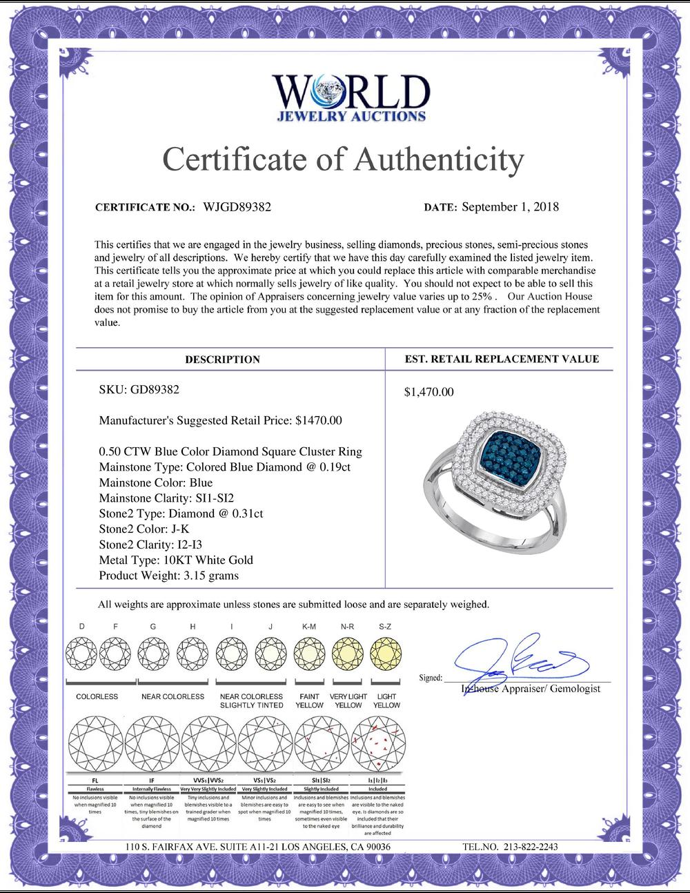 0.50 CTW Blue Color Diamond Square Cluster Ring 10KT White Gold - REF-37M5H