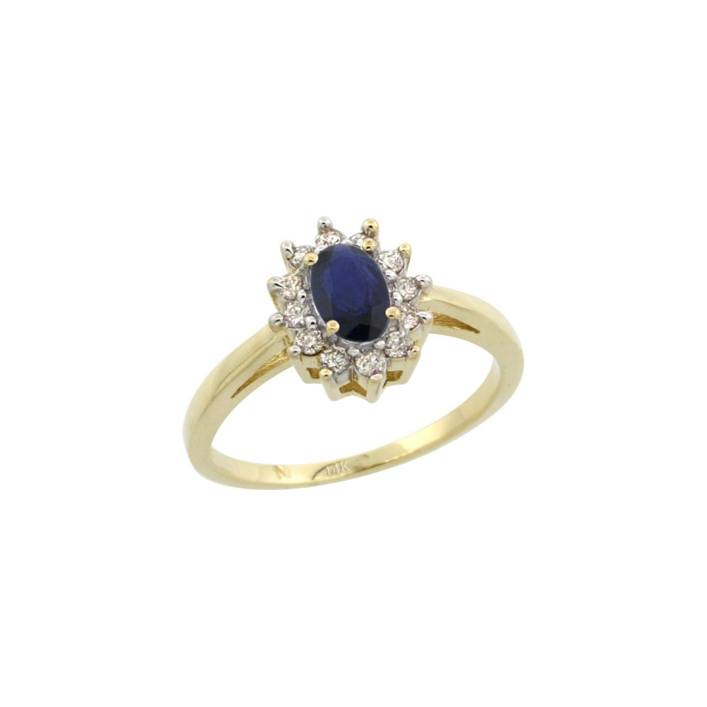 Natural 0.82 ctw Blue-sapphire & Diamond Engagement Ring 14K Yellow Gold - REF-30V9F