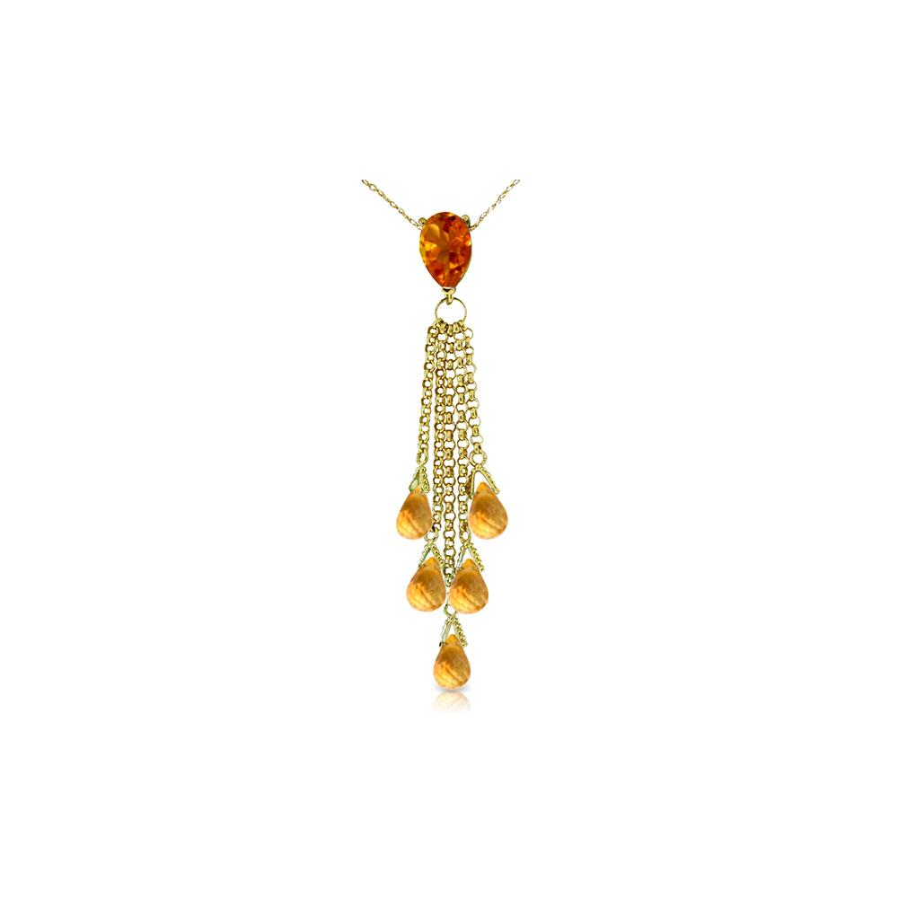 Genuine 7.5 ctw Citrine Necklace Jewelry 14KT Yellow Gold - REF-32T8A