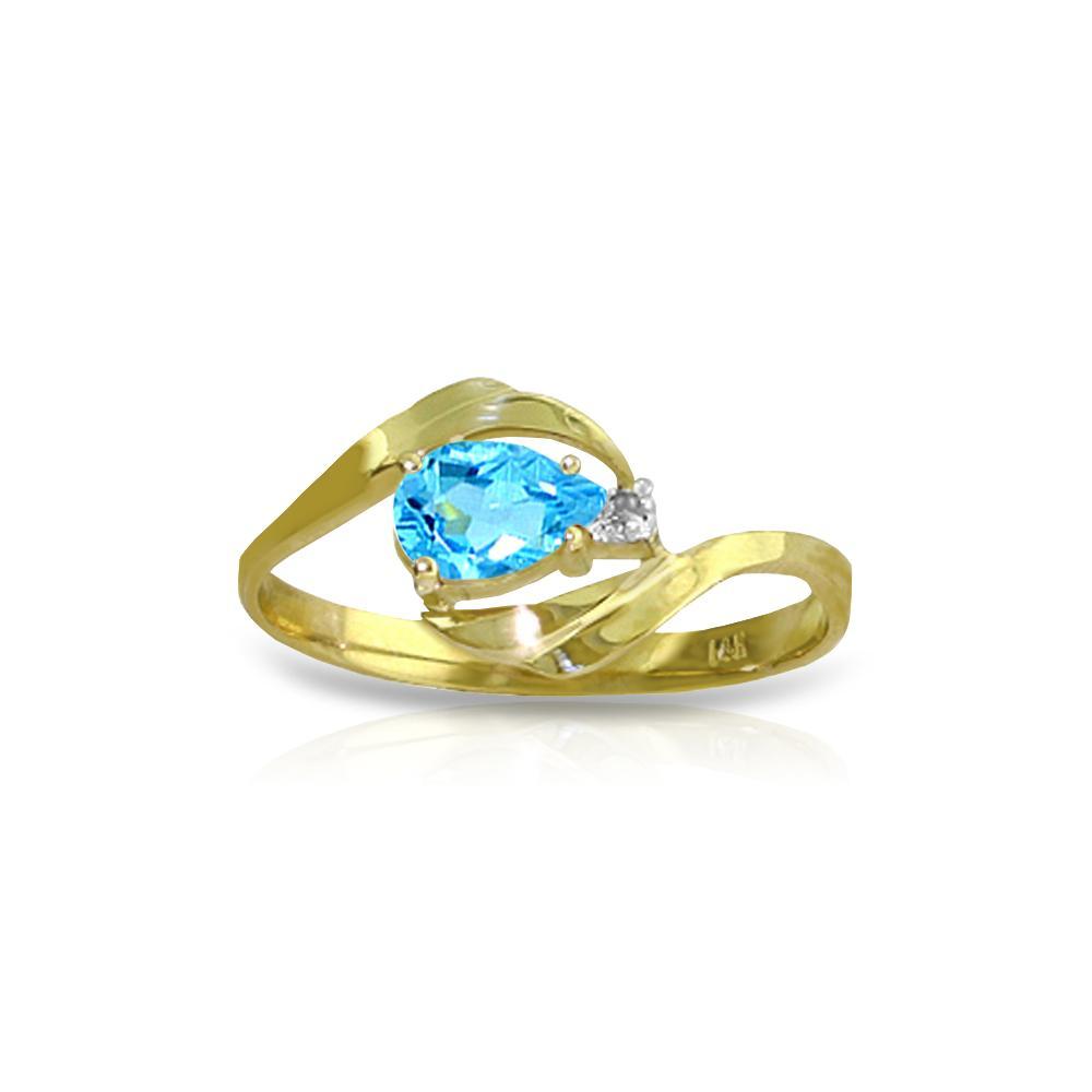 Genuine 0.41 ctw Blue Topaz & Diamond Ring Jewelry 14KT Yellow Gold - REF-26W6Y