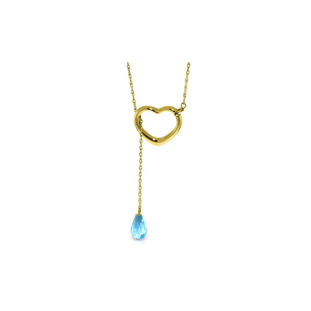 Genuine 2.25 ctw Blue Topaz Necklace Jewelry 14KT Yellow Gold - REF-32H9X