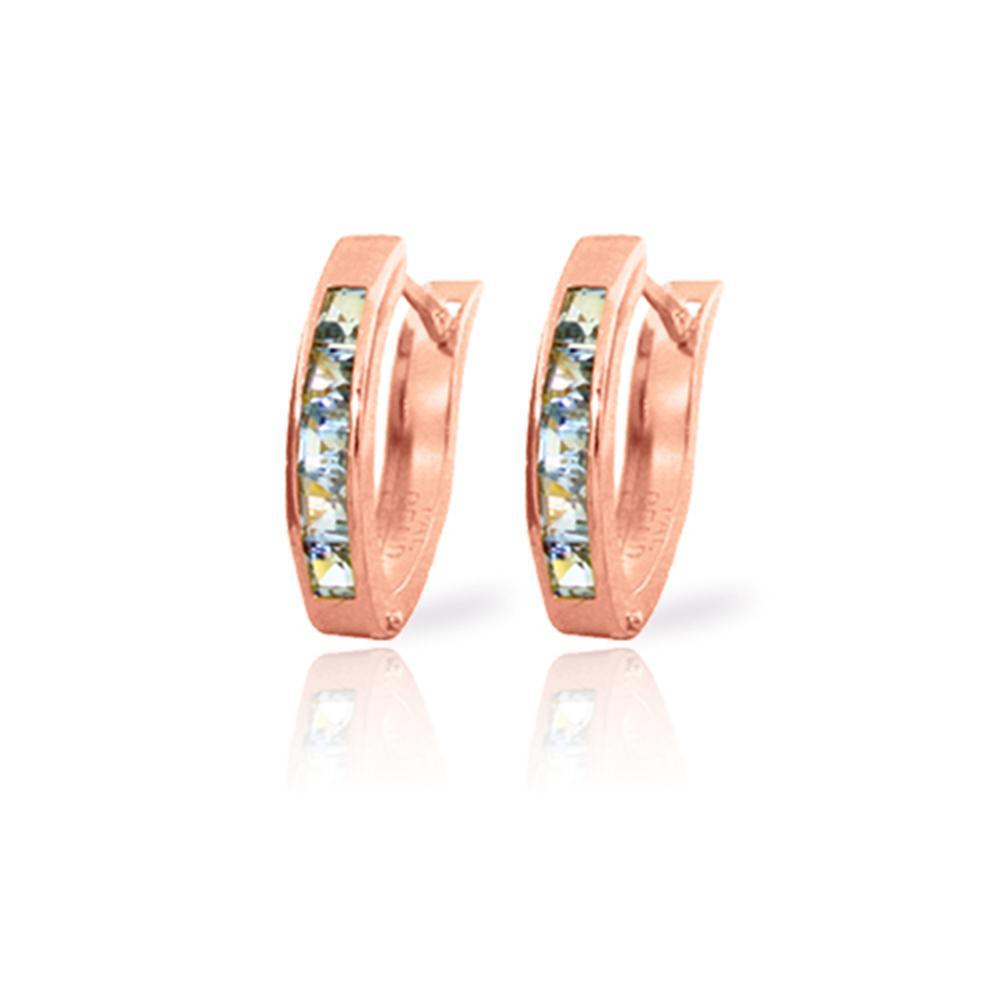Genuine 0.85 ctw Aquamarine Earrings Jewelry 14KT Rose Gold - REF-25P6H
