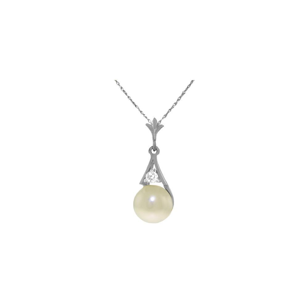 Genuine 2.03 ctw Pearl & Diamond Necklace Jewelry 14KT White Gold - REF-22K2V