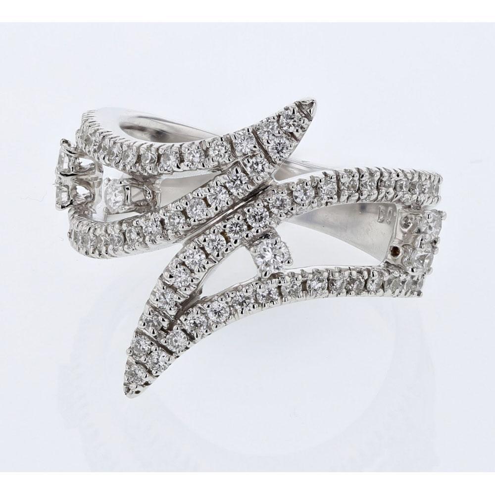 Natural 0.74 CTW Diamond Ring 18K White Gold - REF-115K2W