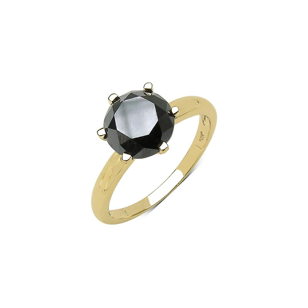 3.43 CTW Black Diamond Ring 10K Yellow Gold - REF-108A6V