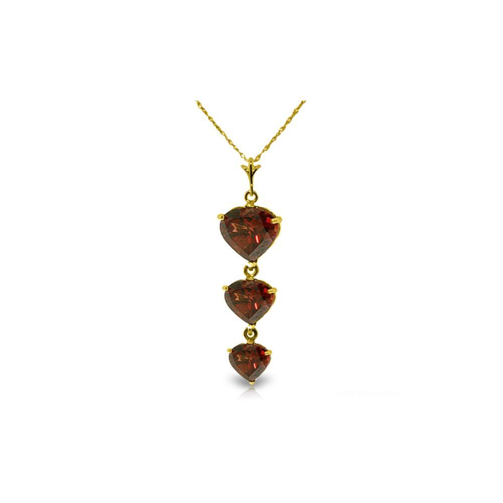 Genuine 3.03 ctw Garnet Necklace Jewelry 14KT Yellow Gold - REF-36A2K
