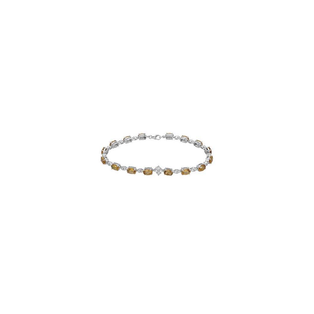 Natural 7.5 CTW Citrine & Diamond Bracelet 18K White Gold - REF-76X2R