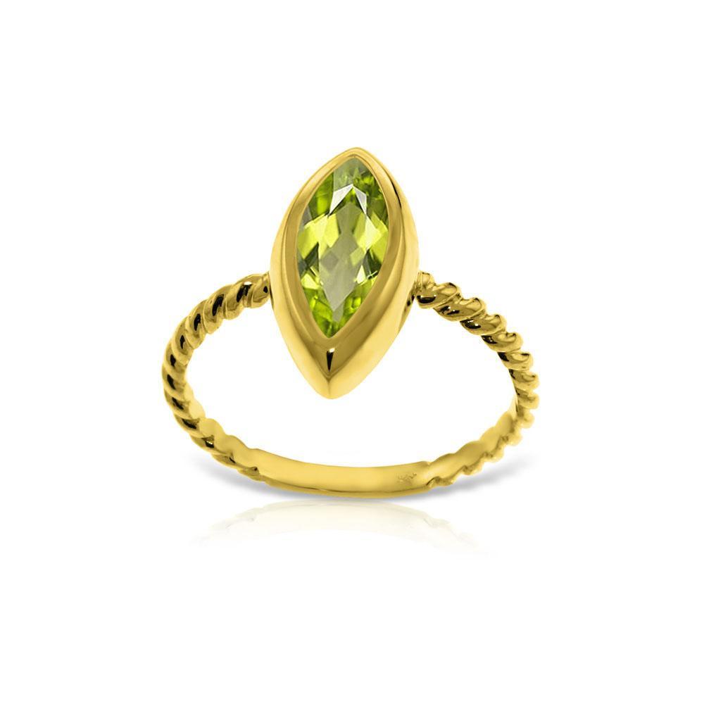 Genuine 2 ctw Peridot Ring Jewelry 14KT Yellow Gold - REF-39N3R