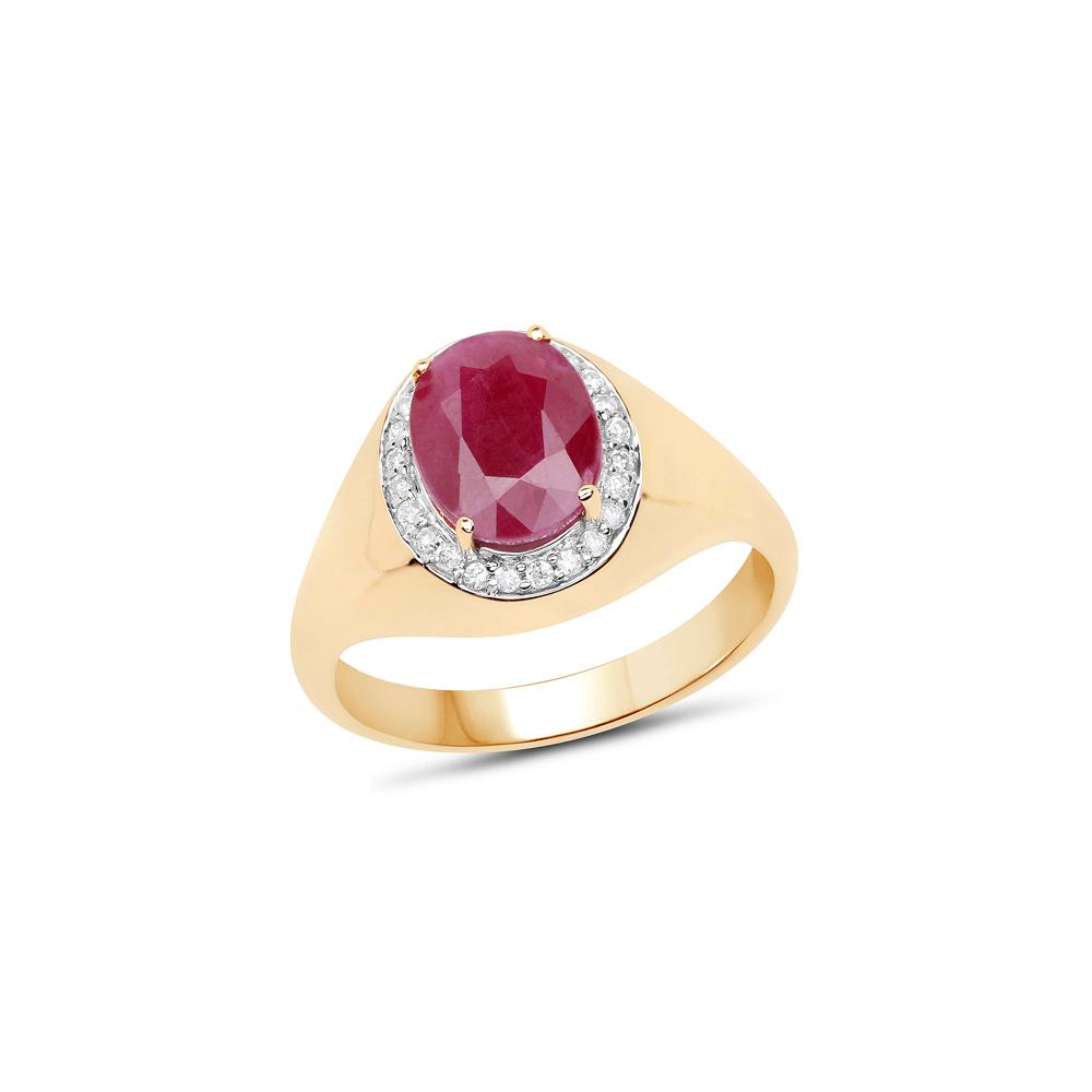 2.32 CTW Ruby & Diamond Ring 14K Yellow Gold - REF-88F4N