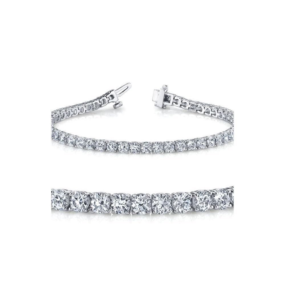 Natural 4.01ct VS-SI Diamond Tennis Bracelet 18K White Gold - REF-348K6H