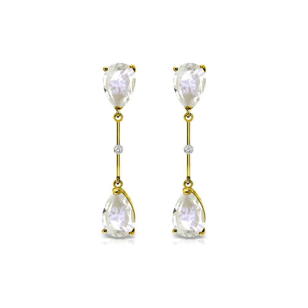 Genuine 6.01 ctw White Topaz & Diamond Earrings Jewelry 14KT Yellow Gold - REF-42Z4N