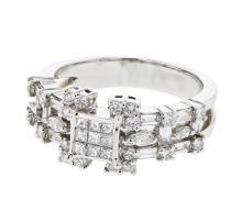 Genuine 1.38 CTW Diamond Fashion  Ring in 14K White Gold - REF-147F7M