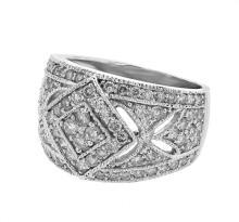 Genuine 1.48 CTW Diamond Fashion  Ring in 14K White Gold - REF-132Z6Y