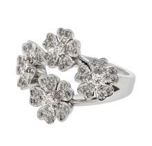 Genuine 0.61 CTW Diamond Fashion  Ring in 18K White Gold - REF-125W2H