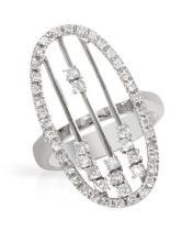 Genuine 0.67 CTW Diamond Motion  Ring in 18K White Gold - REF-121M3G