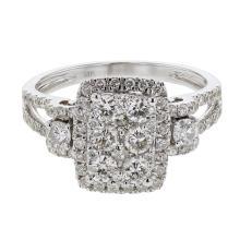 Genuine 1.3 CTW Diamond Cluster  Ring in 14K White Gold - REF-125K2T