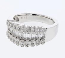 Genuine 0.91 CTW Diamond Fashion  Ring in 18K White Gold - REF-155X4W