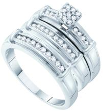 0.42 CTW His & Hers Natural Diamond Cluster Matching Bridal Ring 14K White Gold - REF-71N3Y
