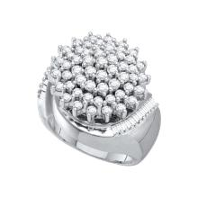 2.03 CTW Natural Diamond Cluster Ring 10K White Gold - REF-90T6K