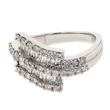 Genuine 1.21 CTW Diamond Cocktail  Ring in 18K White Gold - REF-140N3F