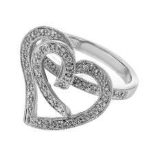 Genuine 0.22 CTW Diamond Fashion  Ring in 18K White Gold - REF-64Z5Y