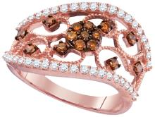 0.85 CTW Cognac-brown Colored Diamond Filigree Band 10K Rose Gold - REF-79N9Y
