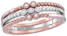 0.14 CTW Natural Diamond Milgrain Stackable 3-Piece Band 10K Rose Gold - REF-35N9Y