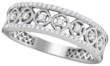 0.29 CTW Natural Diamond Filigree Band 10K White Gold - REF-33N8Y