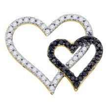 0.53 CTW Black Color Diamond Double Heart Pendant 10KT Yellow Gold - REF-30K2W