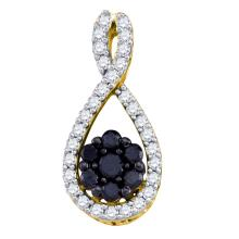 0.40 CTW Black Color Diamond Teardrop Cluster Pendant 10KT Yellow Gold - REF-22K4W